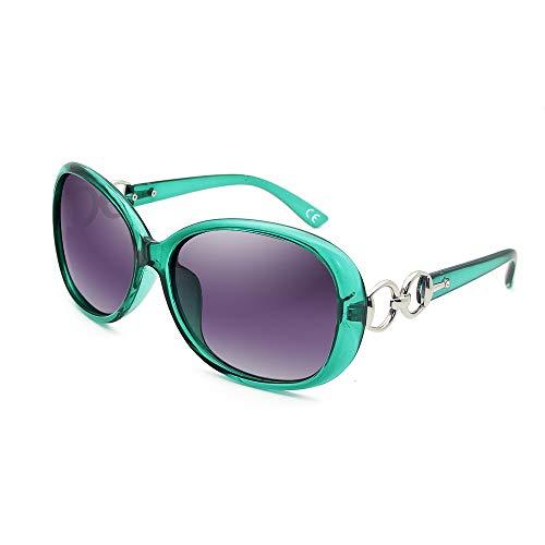 BLEVET Klassisch Groß Damen Sonnenbrille Polarisiert 100% UV-Schutz (Transparent Green Frame Grey Lens)