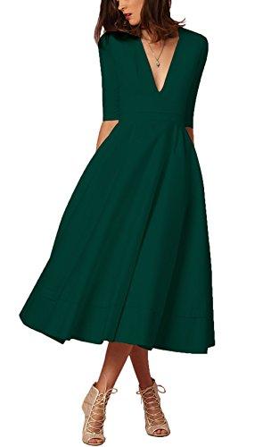 Damen sexy v-Ausschnitt Partykleid Abendkleider Cocktailkleid Elegant 1/2 arm Casual klassischer Stil Kleid lang-DGS
