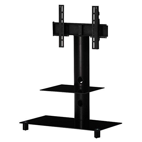 SONOROUS NEO-81 NN Standfuß 86 cm Höhe für Fernseher bis 102 Zoll mit Ablage. Schwarzes Glas/schwarzer Rahmen