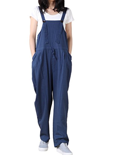 MatchLife Damen Slacks Jumpsuits Overall Latzhose Hosen Style2 Navy Blau (Leg Cuff Wide Hose)