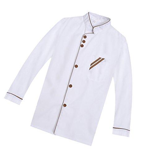 F Fityle Weiß Langarm Kochjacke Bäckerjacke mit Knöpfe Gastronomie Arbeitskleidung Koch Küchen Uniformen Kochkleidung - Weiß, XXL - 5