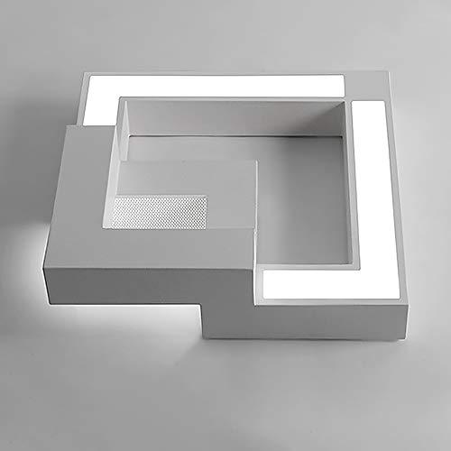 Kreative Quadrat LED Deckenleuchte Ultradünn, Für Schlafzimmer lampe Wohnzimmer lampe Bürolampe Study, Weiches Licht Augenschutz Lampe Geometrische Deckenlampe L50cm 30W Mit Fernbedienung Dimmbar