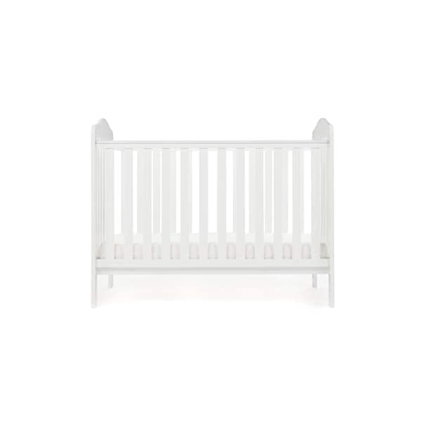 Obaby Ludlow Cot, White Obaby Adjustable 3 position mattress height Stylish open slatted ends and sides Protective teething rails along both side rails 3