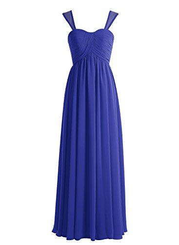 Bbonlinedress Robe de demoiselle d'honneur Robe de soirée en mousseline forme empire longueur ras du sol Bleu Saphir