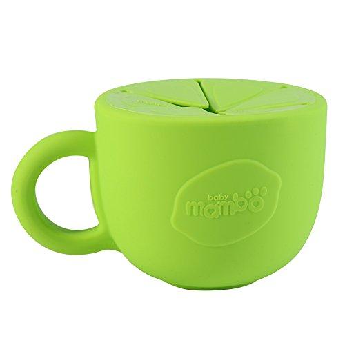 Fdit Copa de Snack de Silicona sin Derrame Tazón de Snack Dispensador de Cereal para Bebé Suave Copa de Snack Resistente a Pérdidas a Prueba de Derrames para Niños(Verde)