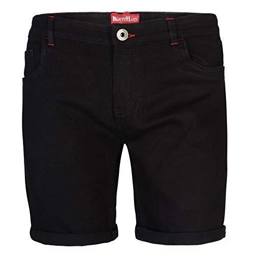 Stretch Casual Pant (BlauerHafen Herren Designer Jeans Shorts Stretch Kurze Hose Super Flex Slim Fit Sommer Denim Half Pants Casual Bermuda (W34 (Taille: 89-91cm), Schwarz))