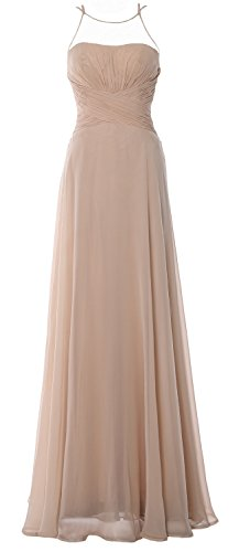 MACloth Women Halter Long Bridesmaid Dress Chiffom Simple Prom Party Formal Gown Champagner