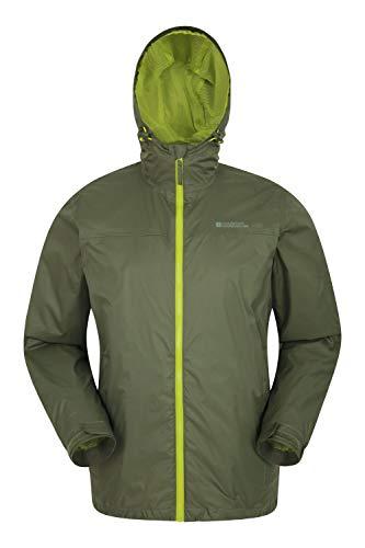 Mountain warehouse torrent ii, giacca da uomo - impermeabile, cuciture nastrate, patta frangivento, regolabile, tasche con cerniera - per estate, escursionismo, viaggi kaki s