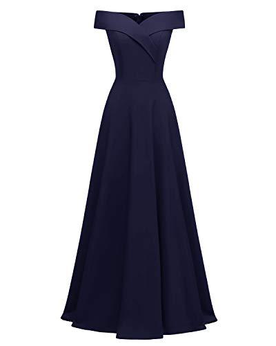 Viloree Damen Abendkleid Langes Kleid Brautjungfer Cocktail Ballkleid Schulterfrei Party festlich Navy XXL Damen Lange Abendkleider