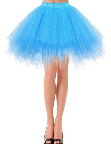 bbonlinedress Kurz Retro Petticoat Rock Ballett Blase 50er Tutu Unterrock Blue XL Black Lace Abendkleid