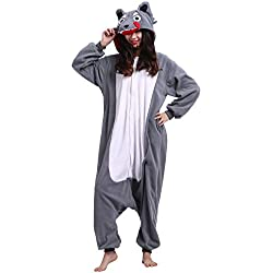 Kigurumi Pijama Animal Entero Unisex para Adultos con Capucha Cosplay Pyjamas Lobo Ropa de Dormir Traje de Disfraz para Festival de Carnaval Halloween Navidad