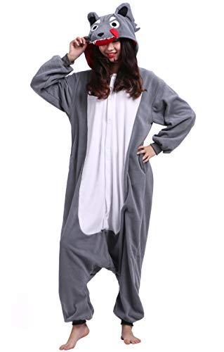 Jumpsuit Onesie Tier Karton Fasching Halloween Kostüm Sleepsuit Cosplay Overall Pyjama Schlafanzug Erwachsene Unisex Lounge Kigurumi Wolf for Höhe 140-187CM (Halloween Kostüm Pyjama)