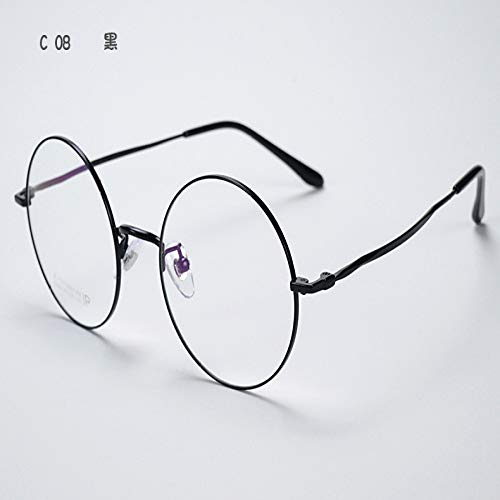 Yangjing-hl Runde Brille aus hochwertigem Titan mit Retro-Halbtitanrahmen