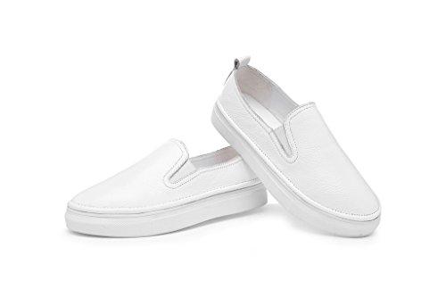 Rismart Damen Komfort Drauftun Leder Flache Schuhe 609-2 Weiß