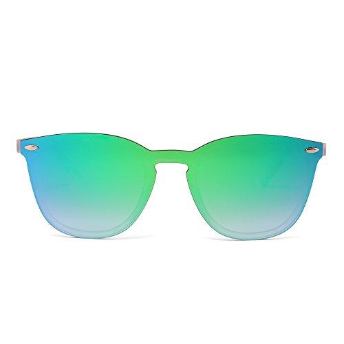 JIM HALO Randlos Sonnenbrille Ein Stück Spiegel Reflektierend Brille für Damen Herren(Matt Transparent/Spiegel grün)