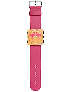 S.T.A.M.P.S. Stamps Uhr KOMPLETT - Zifferblatt Flamingo mit Lederarmband hot pink
