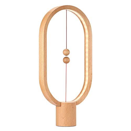 Heng Balance Magnetische Lampe Balance-Lampe LED Nachtlicht Dekoration zu Hause, Schlafzimmer, Büro, Café-Bar, Lampe mit warmer Eye-Care, Grain de Bois Léger (Dekoration Zu Hause)