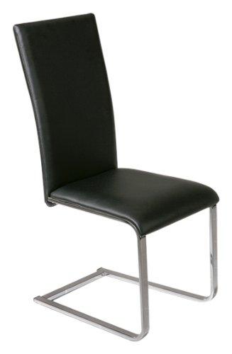 Links 30200850 Küchenstuhl Esszimmerstuhl Esszimmer Freischwinger Stuhl  Schwarz Chrom Küche NEU: Amazon.de: Küche U0026 Haushalt