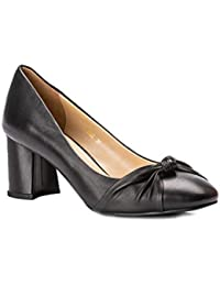 26e230f29ffd Drish Soft Leather Court Shoes Pumps for Women with Block Heel