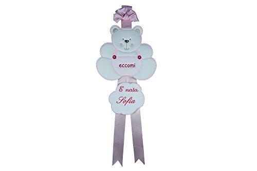 Coccole- fiocco nascita coccarda per nascita orso - rosa - 0 mesi con nome personalizzato