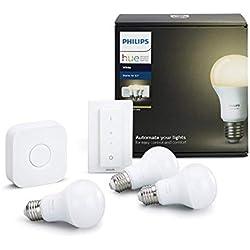 Philips Hue Hue White Kit de 3 Bombillas LED E27 con Puente e Interruptor, 9W, iluminación Inteligente, luz Blanca cálida Regulable, Compatible con Apple Homekit y Google Home, 9 W, Mando