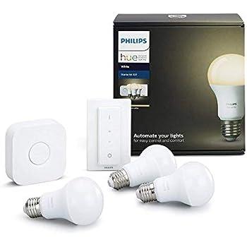 Philips Hue White - Kit de 3 bombillas LED E27, puente e interruptor o mando, 9 W, iluminación inteligente, luz blanca cálida regulable (compatible con ...