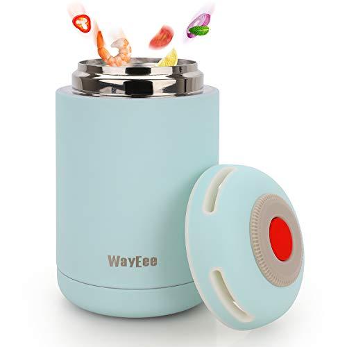 Thermobehälter 460ml Edelstahl Warmhaltebox Speisebehälter BPA freier Isolierbehälter Thermo Gefäß für Babynahrung Speisegefäß für Kinder Erwachsene Brotdose Schule Camping im Freien (Blau)