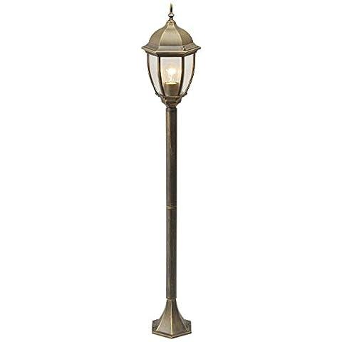 Lanterne réverbère antique de style rustique et vintage avec armature en métal couleur bronze et plafonnier en verre, eclairage extérieur pour le jardin ou chemins ou patio, 122cm 1 ampoule non-incl. E27 1x100W 230V