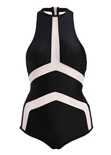 Schwarzer Damen Badeanzug Monokini mit transparenten Details Schwarz