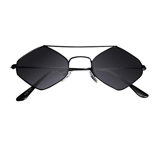 fazry Damen Jahrgang Eng Katzenauge Zweistrahl Diamant Metall Rahmen Sonnenbrille Brillen(Schwarz)