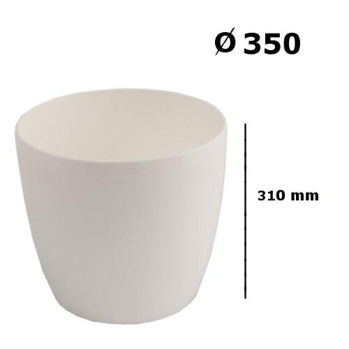 Prosperplast 19 L Blumentopf Übertopf Coubi Serie, Durchmesser 350 mm Glanz PP Kunststoff Rollen Vorbereitung, weiß, 35 x 31 x 26,5 cm, DUO350-S449