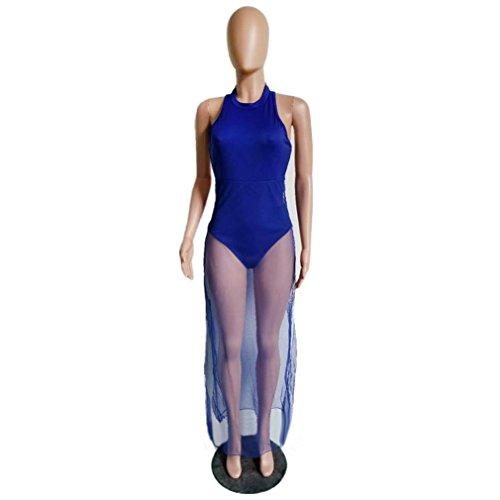 Weiblicher Kleid, Hmeng Frauen Sommer Stitching Hollow Ärmelloses Mesh Kleid Tight Club Party Dress Blau