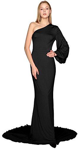 MACloth Women Long Mermaid Wedding Formal Evening Party Ball Gown Prom Dress Black