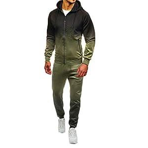 ☺HWTOP Sweatshirt Hoodie Top Hose Sets Herren Packwork Print Sportanzug Trainingsanzug