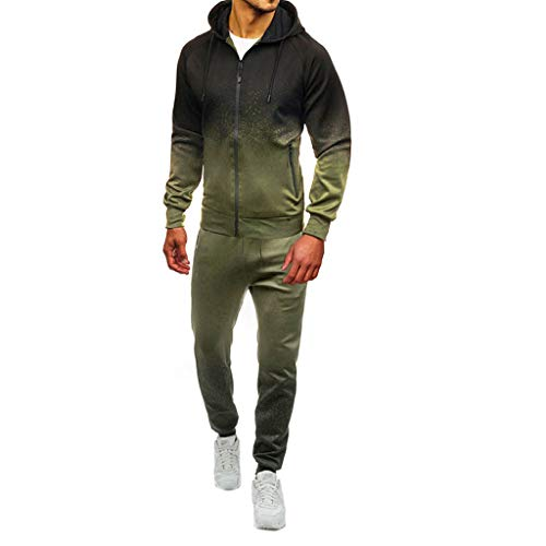 ESAILQ Herren Herbst-Winter-Patchwork-Print Sweatshirt Top Hose Sets Sportanzug Trainingsanzug(XX-Large,Armeegrün)