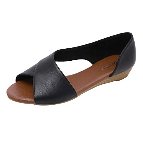 Fenverk Damen Flache Schuhe Leder Pumps Blockabsatz Sommer Low Top Ankle Schuhe Elegante Vintage Flats Bequem Schwarz, Beige, Gelb Gr.36-42(Schwarz B,39 EU)