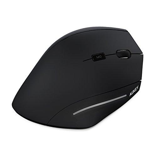 AUKEY Mouse Wireless 2.4G 3 DPI Regolabile 800 / 1200 / 1600 Mouse Verticale Ergonomico Prevenzione contro il Braccio del Mouse ( Sindrome RSI ) per Computer, PC e Portatili - Nero
