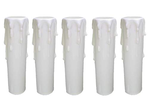 5 x E14 Fassunghülse ~ Kerzenhülse 100mm Ø 27/29mm Weiß mit Tropfen