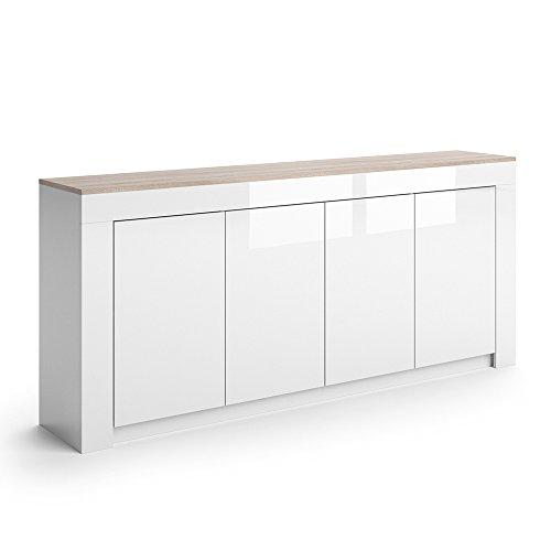 vicco sideboard roma in wei hochglanz 190 cm kommode schrank anrichte diele flur highboard. Black Bedroom Furniture Sets. Home Design Ideas