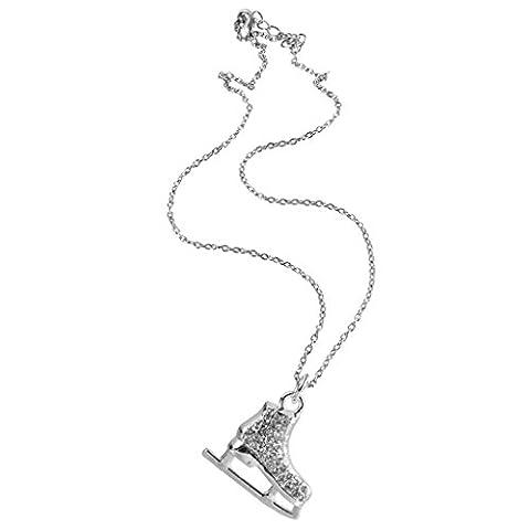 Cristal Figure Glace Chaussure De Skate Chaussure Pendant Le Hockey Collier Ton Argent