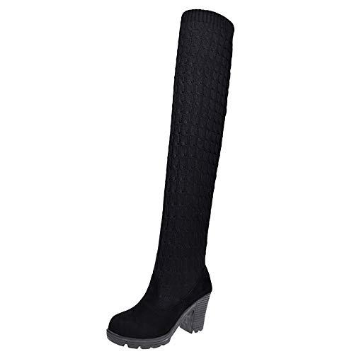 cinnamou Damen Rutschfeste Overknee Boot, Zeige dünne Beine,Beiläufige Elastische Kraft Schuhe Runde Zehe Stiefel