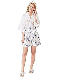 Cliont Pijama lencería Kimono Corto de satén de para Mujer Batas Cortos Lenceria