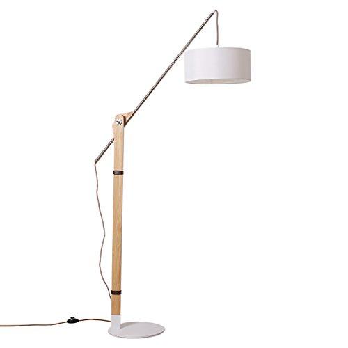 Skandinavische Massivholz Angelschnur Boden bis zur Decke Lampe mit drehbar einstellbaren Metall Schlafzimmer Wohnzimmer Büro Stehlampe (weiß + Holzfarbe) (Bis Decke Lampe Zur Boden)
