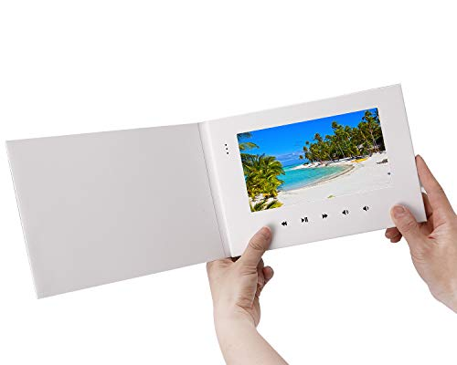 LuguLake Advertising Machine for Marketing Brand Advertising with LCD Screen Digital Photo Frame Greeting Card E-Card for Birthday, Anniversary, Holiday, Christmas (7 Inch White) (Personalisieren Die Sie Einladungen)