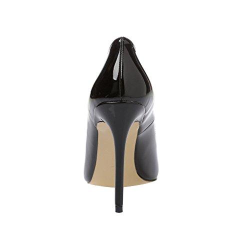 ELEHOT Femme Elequarreli Aiguille 10CM Synthétique Escarpins Noir