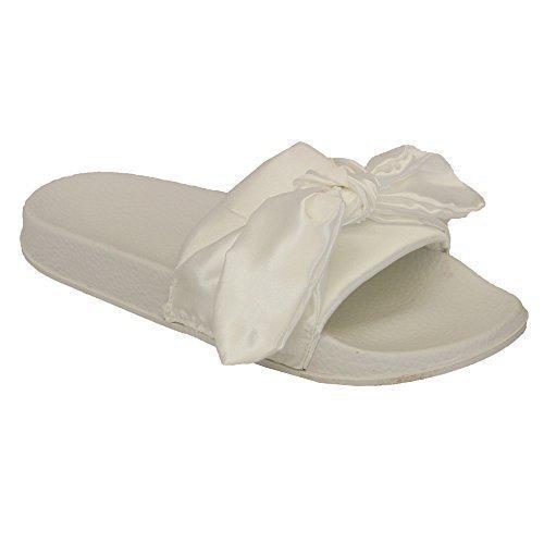 Donna ciabatte slip-on fiocco passanti donna comodo gomma sandali sabot estate nuovo - bianco - 5835, 7 uk