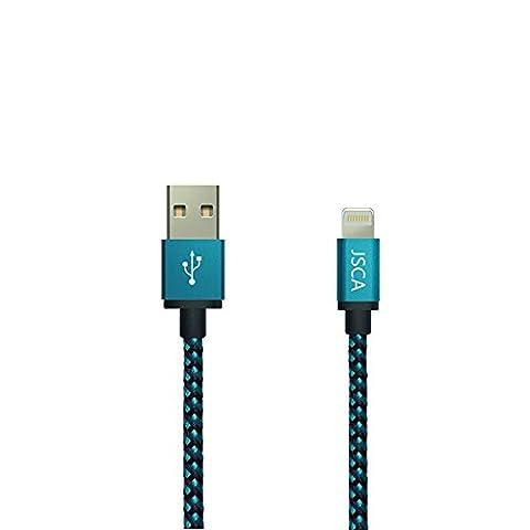 iPhone Câble 3 m/9.8 ft jsca Blue en nylon tressé