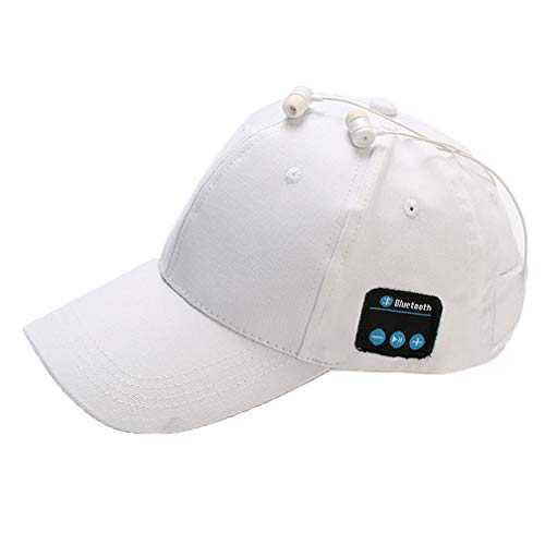 ZYX Drahtlose Bluetooth Hat Smart Voice Outdoor Sport Baseball Kappe Kopfhörer Nennen Music Cap Multi Funktion Cap Casual Wild Multi Color Waschen Schnell Trocknen,White
