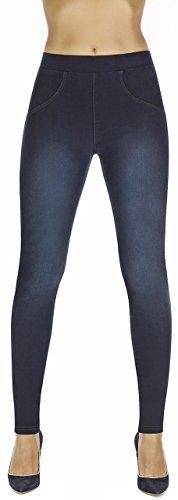 Firstclass Trendstore Shape-Leggings in versch. Styles Gr. S-XXL * Jeans-Optik Lederoptik formend modellierend schlankmachend Leggins Damenhose Push-up (Maddie dunkelblau L)