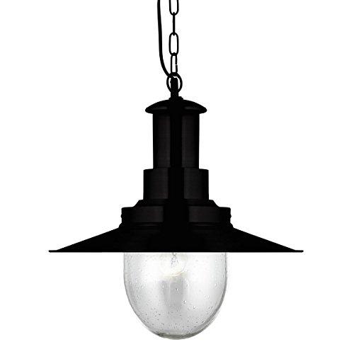 Pescatore singolo ciondolo luce di soffitto Matt Black / seminato vetro - Searchlight 5301BK
